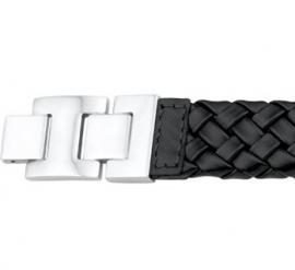 Brede Egaal Gevlochten Armband van Zwart Leer