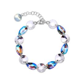 Zilveren Bovino Witte met Blauwe Glaskristallen Armband van Spark