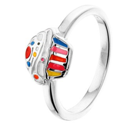 Zilveren Ring voor Kinderen met Vrolijke Cupcake