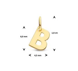 Letter B Hanger in massief 14 Karaat Goud