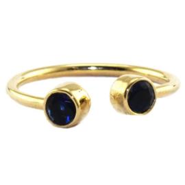 Ring met Blauwe Tanzanite Quartz Natuursteen van Sujasa