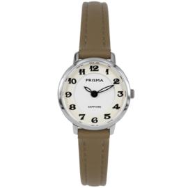 Prisma Zilverkleurig Rond Dames Horloge met Bruin Lederen Horlogeband