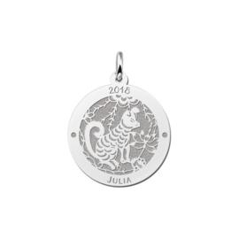 Ronde Chinese Sterrenbeeld Hond Hanger van Zilver