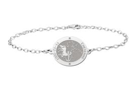 Zilveren Armband met Ovaalvormige Boogschutter Sterrenbeeld Naamhanger > Names4ever