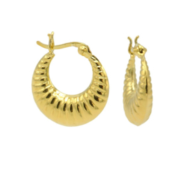 Goudkleurige Geribbelde Ronde Oorringen   Karma Jewelry