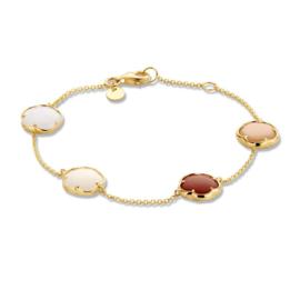 Excellent Jewelry Geelgouden Schakelarmband met Maansteen en Kwarts