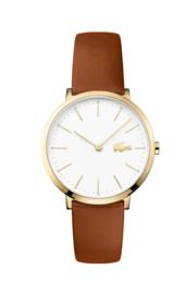 Lacoste Goudkleurig Dames Horloge met Bruin Lederen Horlogeband