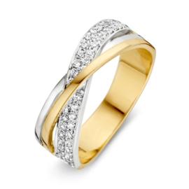 Excellent Jewelry Bicolor Ring met Witgouden Zirkonia Strook