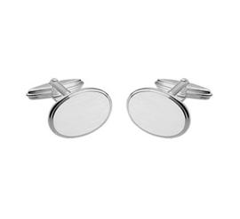Ovale Matte Manchetknopen van Zilver met Gepolijste Rand