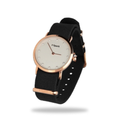 Sencillo Roségoudkleurig Horloge met Zwarte Horlogeband van Spark