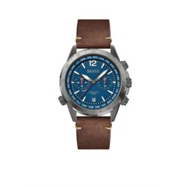 Hugo Boss Horloge Aero Zilverkleurig Horloge met Bruine Lederen Band van Boss