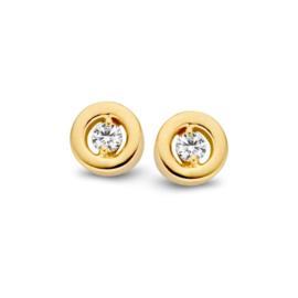 Excellent Jewelry Geelgouden Oorsteker met Kleurloze 0,09 crt. Briljant