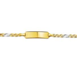 Gouden Bicolor Graveer Baby Armbandje Anker | Lengte 13 – 15 cm