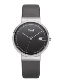 Zilverkleurig M&M Unisex Horloge met Grijs Lederen Horlogeband