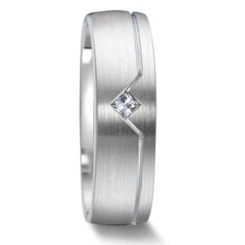 Bolstaande Matte Witgouden Dames Trouwring met Vierkante Diamant