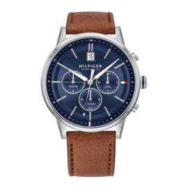 Tommy Hilfiger Zilverkleurig Heren Horloge met Navy Wijzerplaat
