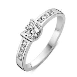Excellent Jewelry Witgouden Ring met Grote Kleurloze Zirkonia