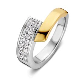 Excellent Jewelry Bicolor Ring met Zirkonia Vlak