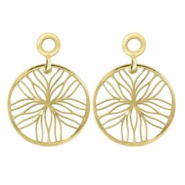 Goudkleurige Creoli Hangers met Line Flower van MY iMenso