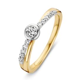 Excellent Jewelry Geelgouden Ring met Witgouden Diamant Rondje