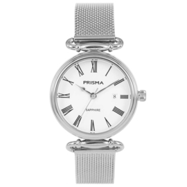 Zilverkleurig Luxueus Dames Horloge van Prisma met Milanese Band
