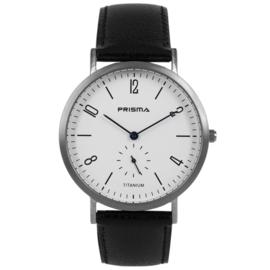 Design Titanium Prisma Horloge met Zwart Lederen Horlogeband