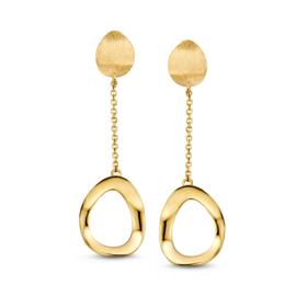 Excellent Jewelry Geelgouden Oorstekers met Opengewerkt Ovaaltje