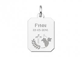 Names4ever Zilveren Communie Graveerhanger met Kruis