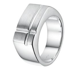 Zilveren Ring voor Heren met Mat Kopstuk en Kruisende Lijnen