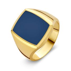 Excellent Jewelry Gouden Zegelring met Mooie Massieve Lagensteen