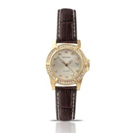 Goudkleurig Dames Horloge met Bruine Horlogeband en Sierdiamanten