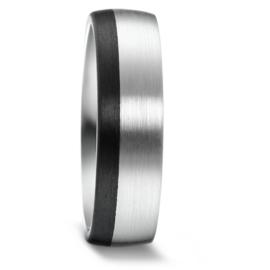 Brede Zilveren Heren Trouwring met Zwarte Carbon Rand