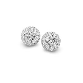 Excellent Jewelry Witgouden Oorstekers met 0,17 crt. Diamanten