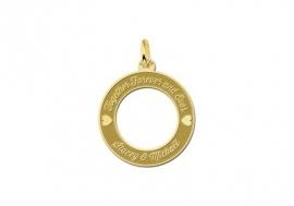 Names4ever Gouden Ronde Hanger 20 mm + Graveer Tekst