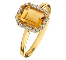 Geelgouden Ring met Citrien en Diamanten