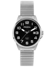 Edelstalen Heren Horloge met Rekband en Zwarte Wijzerplaat