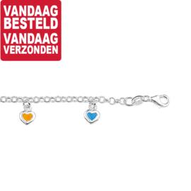 Kinderarmband met Gekleurde Hartjes / Lengte 15cm