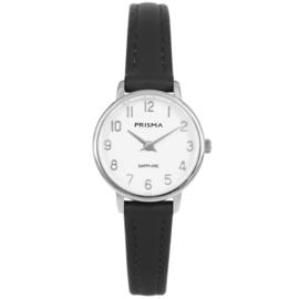 Prisma Edelstalen Dames Horloge met Zwart Lederen Horlogeband