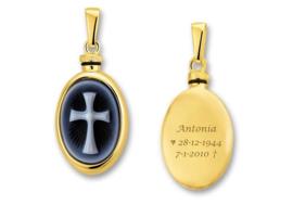Gouden Ovaalvormige Ashanger met Tekst en Kruis Camee > Names4ever