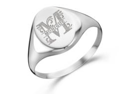 Zilveren Zegelring Ovaal met Initiaal en Naam | Names4ever