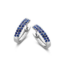 Excellent Jewelry Witgouden Oorringen met Diamanten en Saffieren