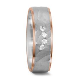 Zilveren Dames Trouwring met Roségoud en Diamanten