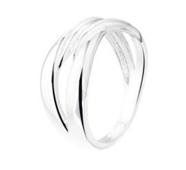 Glanzende Fantasie Ring van Gepolijst Zilver / Maat 17,8