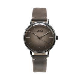 M&M Horloge met Zilverkleurige Ronde Kast en Grijze Horlogeband
