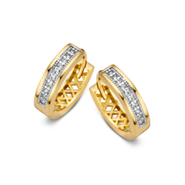Excellent Jewelry Vlakke Creolen van Geelgoud met Zirkonia's