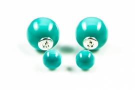 Dubbele parel oorbellen / Turquoise 11039