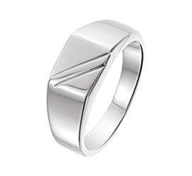 Zilveren Ring voor Heren met Diagonale Lijnen