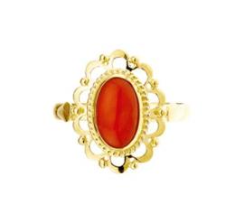 Gedecoreerde Vintage Gouden Ring met Bloedkoraal