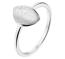 Dames Ring van Zilver met Gescratcht Bladvormig Kopstuk