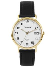 Goudkleurig Prisma Heren Horloge met Witte Wijzerplaat